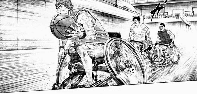 A manga panel of a trio of wheelchair basketball players sprinting down the court. The young man in front has the basketball in his hands.