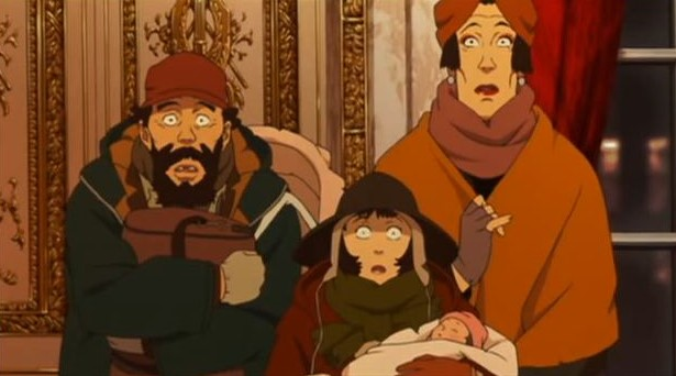 A mid-shot of three people - a middle-aged man with a thick beard, a short teenage girl holding a baby, and a tall middle-aged woman - wearing winter coats and hats. All three are looking directly at the camera with expressions of shock.