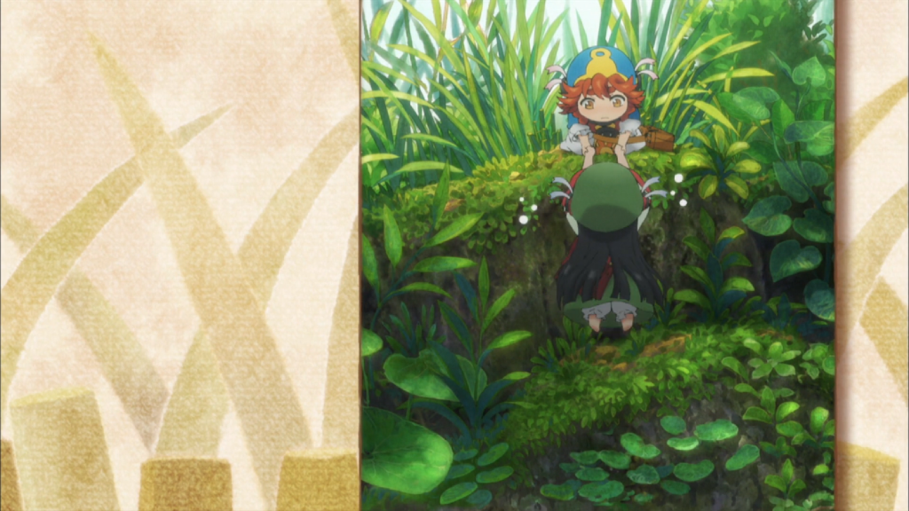 The background is sepia-toned with abstract designs of grass stalks across it in a pattern. Atop this is a panel filling about half the screen on the right side. This panel features two tiny girls in colorful hats and coats standing amongst stalks of grass and clovers that are taller than they are. A girl with frizzy hair is sitting atop a ridge, facing the camera and offering her hands to a girl at the bottom of the short ridge, who is facing away from the camera.
