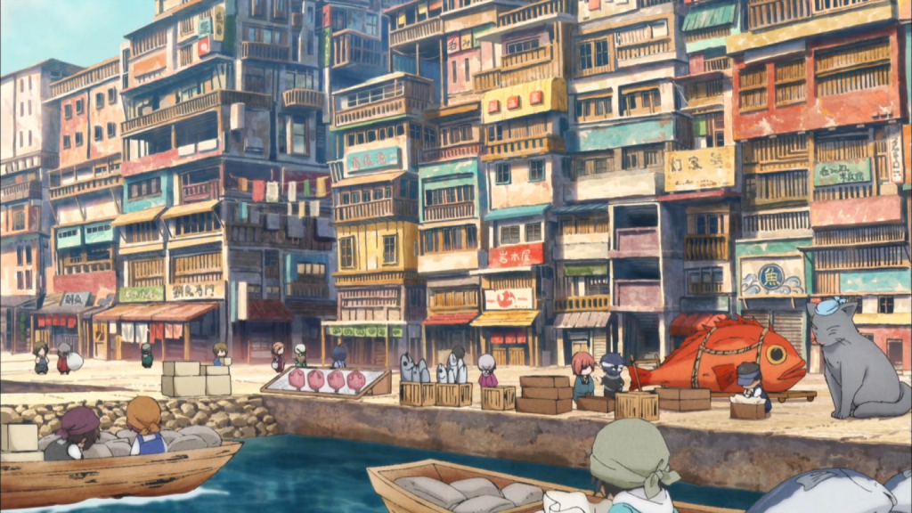 A long-shot as if the camera is hovering over an open body of water and looking across at a harbor and bustling town. The buildings are softly colored and stacked atop each other; there are a few small boats in the harbor; and on the boardwalk you can see both little people as well as animals standing about as if chatting, walking, or conducting business.