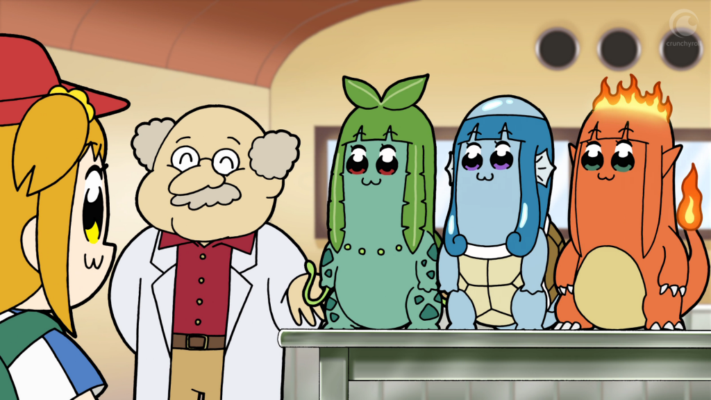 A girl wearing a baseball cap stands to the left of the frame, facing an older man in a lab coat and three figures that look like Bulbasaur, Squirtle, and Charmander from Pokemon, except that they all have the elongated face of the other girl (Popimi) in the show.