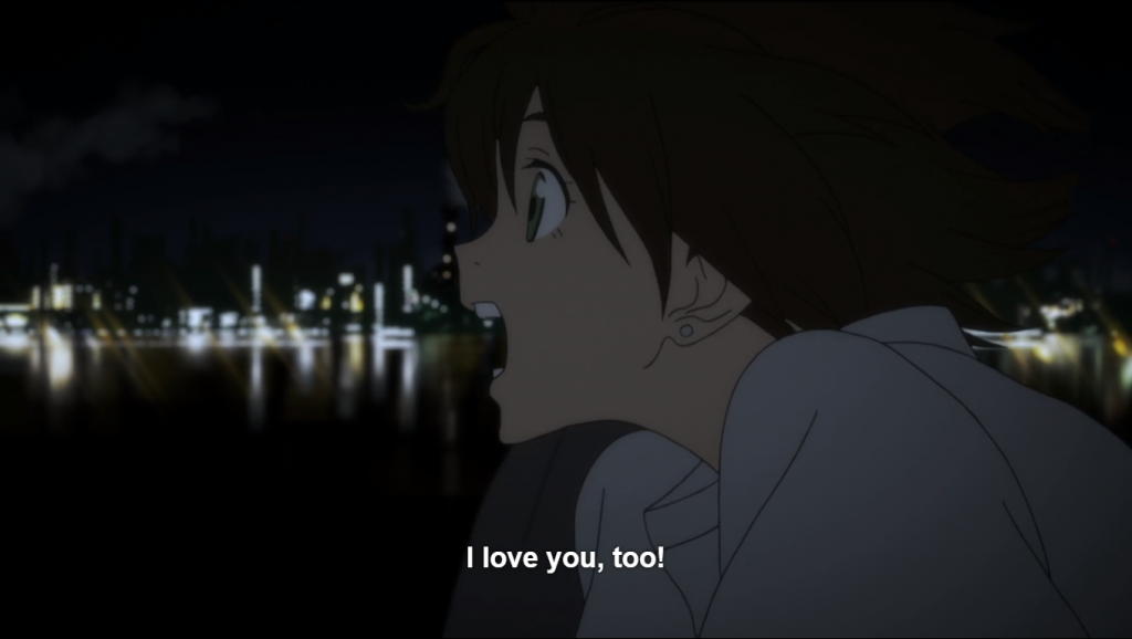 Miko, shouting, within the same scene. caption: I love you, too!