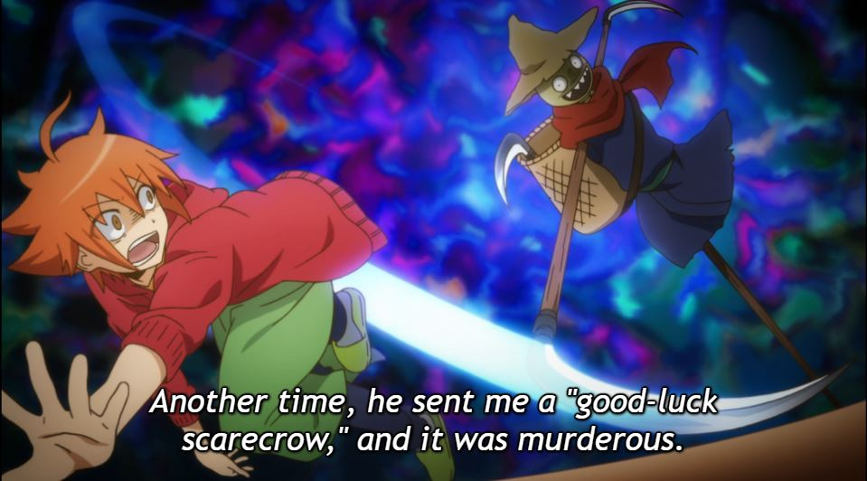 """Sora running from a scarecrow swinging a scythe. caption: Another time, he sent me a """"good-luck scarecrow,"""" and it was murderous."""