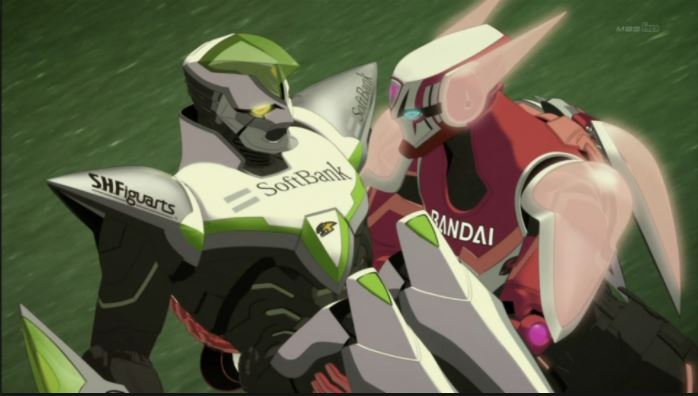 A mid-range shot of a red mecha suit carrying a green mecha suit.