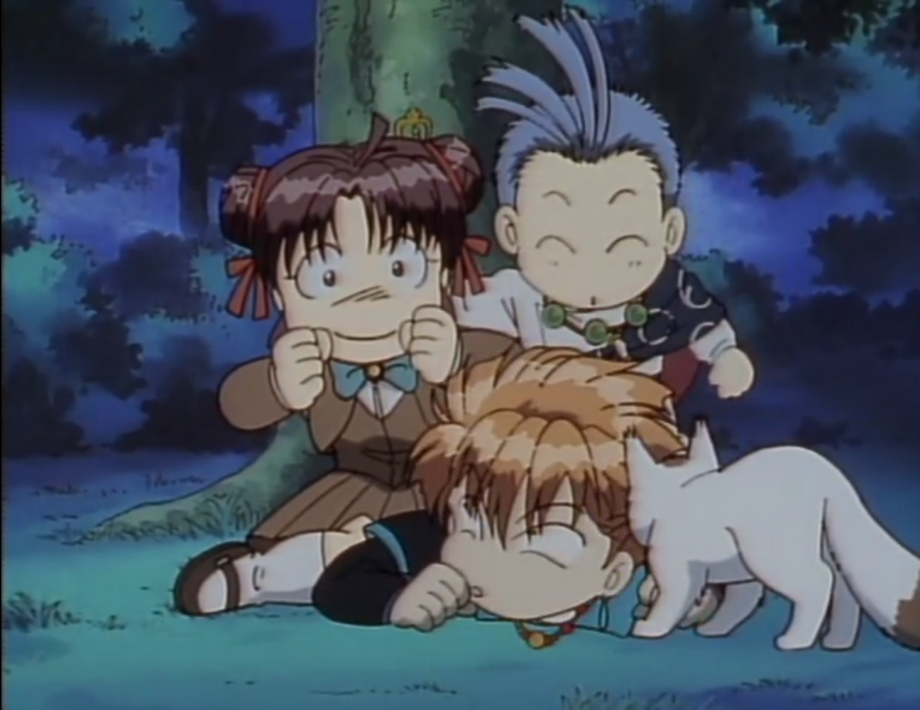 A trio of chibi figures cluster together at the foot of a tree at night. On the ground is a redheaded teen boy (Tasuki) who's cushioning the fall of an excited-looking teen girl (Miaka). Just behind her, a smiling monk with flyaway bangs (Chichiri) looks as if he's just jumped and landed next to her.