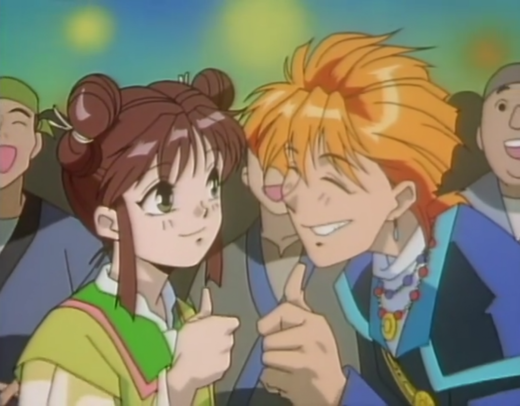 A teen girl (Miaka) and a redheaded teen boy (Tasuki), both in China-inspired fantasy clothes, smile at each other and flash thumbs-ups. There is a ground behind them and it appears to be evening.
