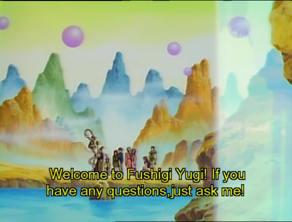 """A dreamlike mountain landscape with flowing waterfalls. There are a few figures standing in the center, but they're too far away to see clearly. Subtitles: """"Welcome to Fushigi Yugi! If you have any question, just ask me!"""""""