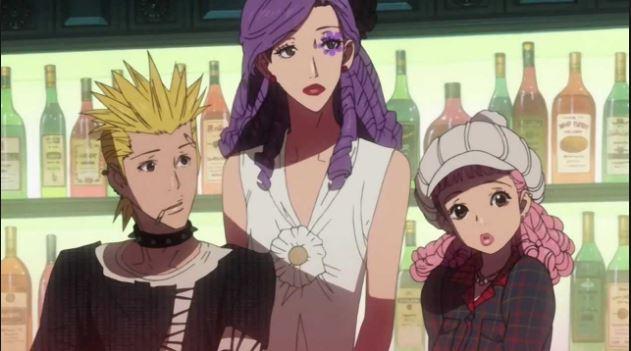 Arashi, Isabella, and Miwako from Paradise Kiss at their bar/clubhouse
