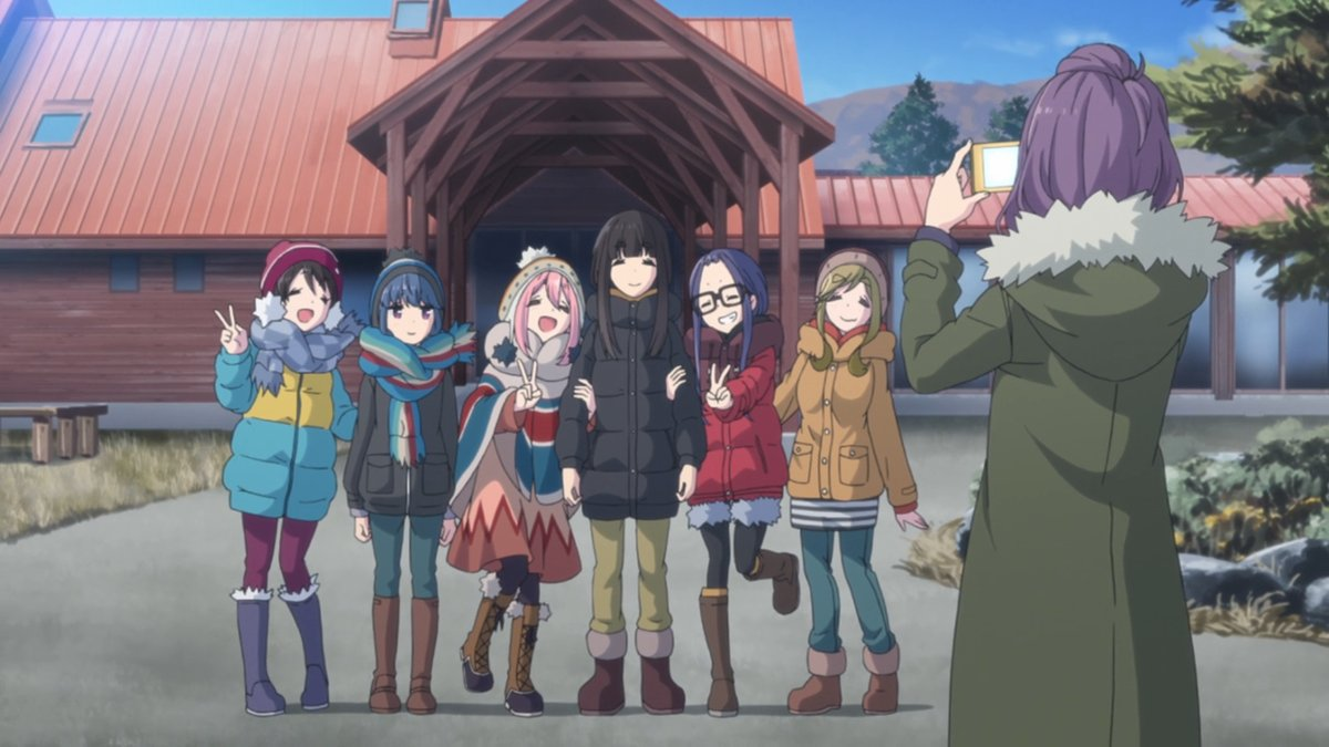 The cast of Laid-back camp gathered together and posing for a photograph