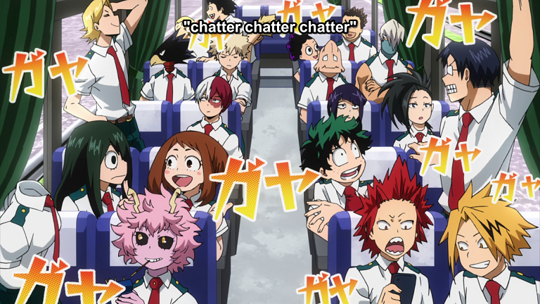 "The Class A students from ""My Hero Academia"" all sitting on a bus, most of them chatting happily to one another. Subtitles read ""chatter chatter chatter"""