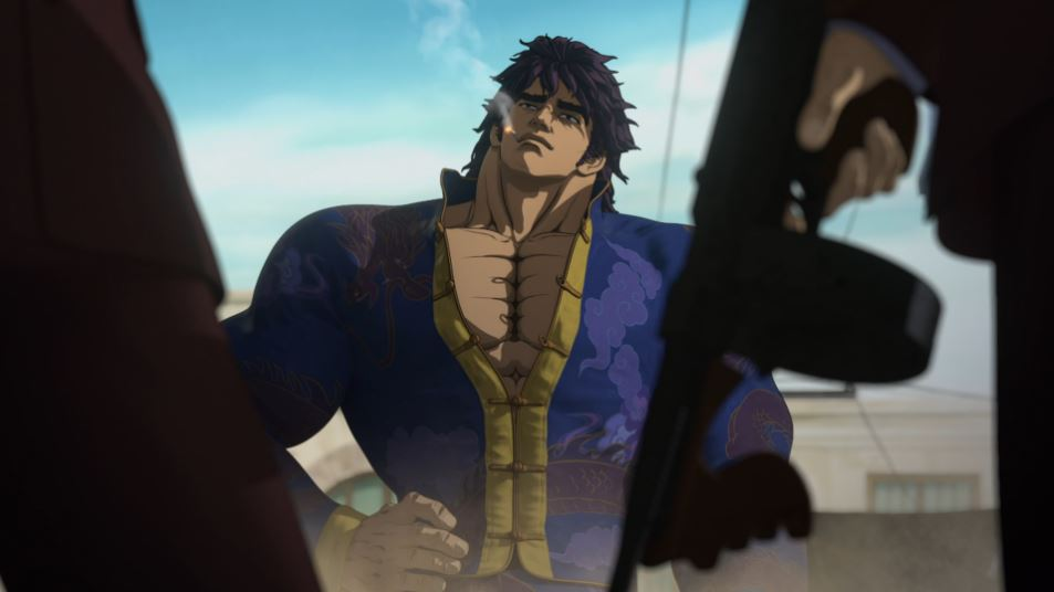 Kenshiro smoking a cigarette with hands on his hips