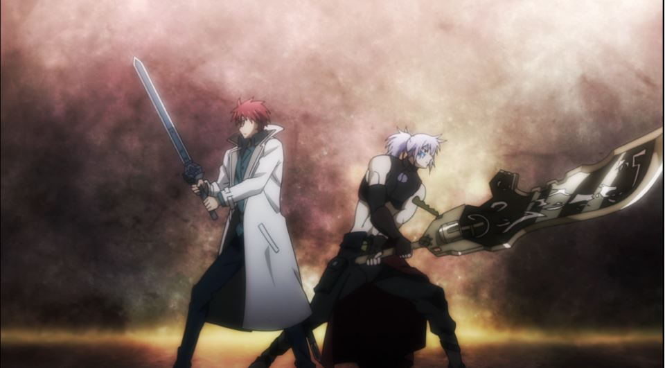 Gayus and Gigina standing back to back, holding their weapons