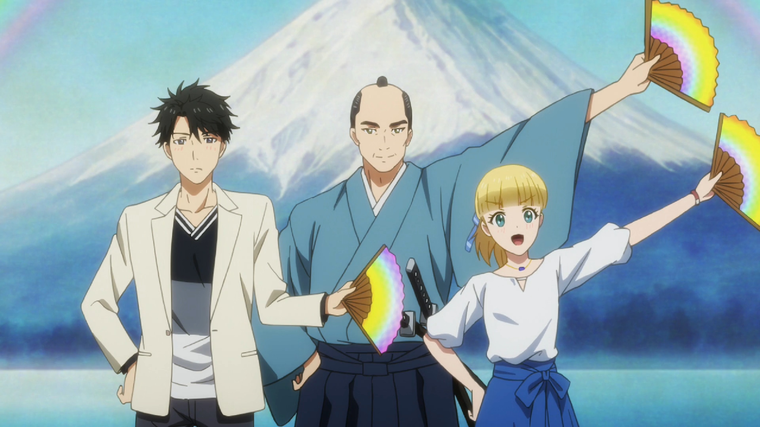 A man in traditional Japanese robes stands solemnly holding out a rainbow-colored fan. In front of him are two teenagers also holding fans. The blonde girls smiles and mimics the man's pose perfectly; the dark-haired teen boy looks a bit embarrassed and mimics the pose more reluctantly.