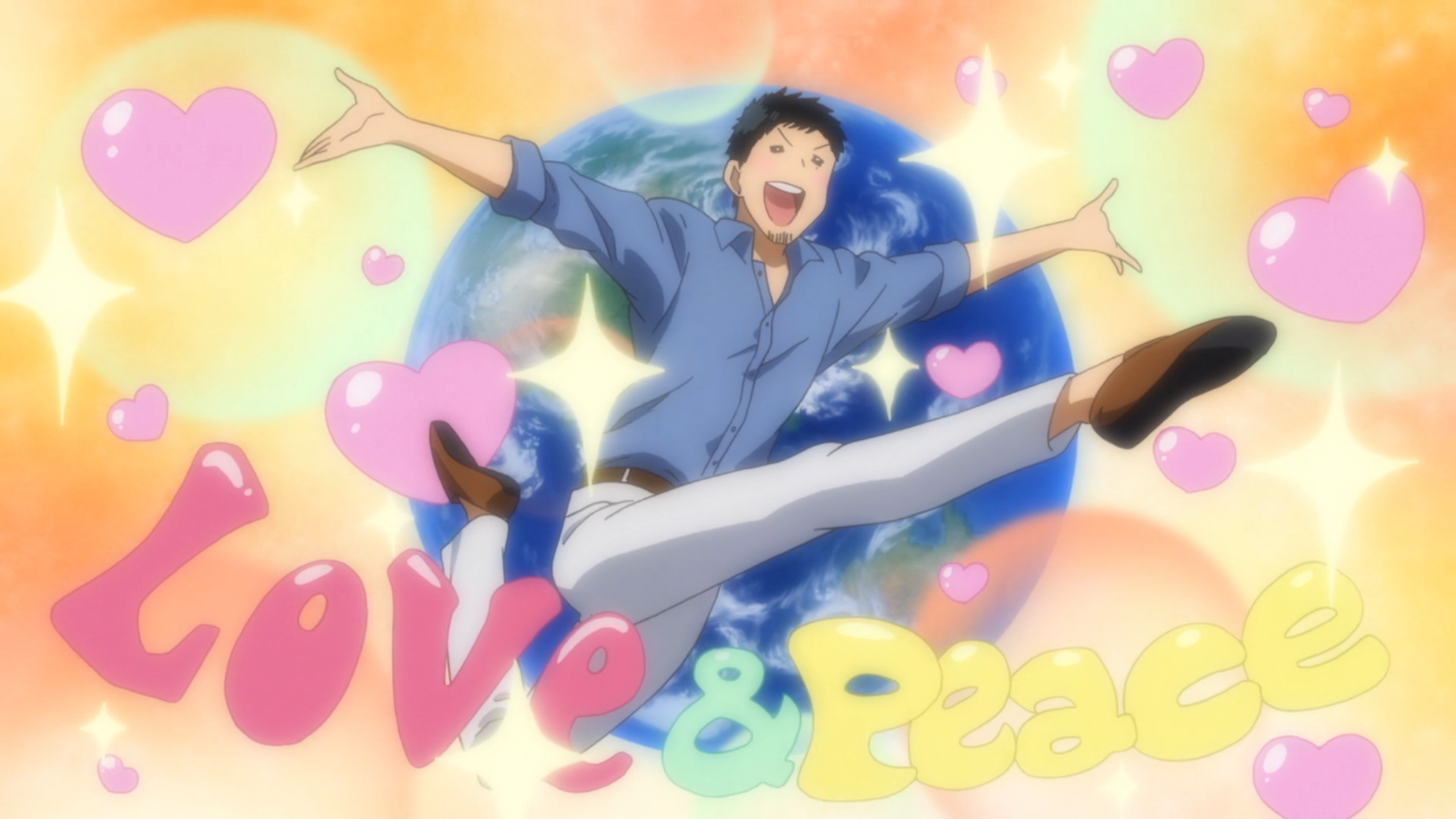"""A man jumping in front of a planet earth covered in hearts. Text below him reads """"Love and Peace"""""""