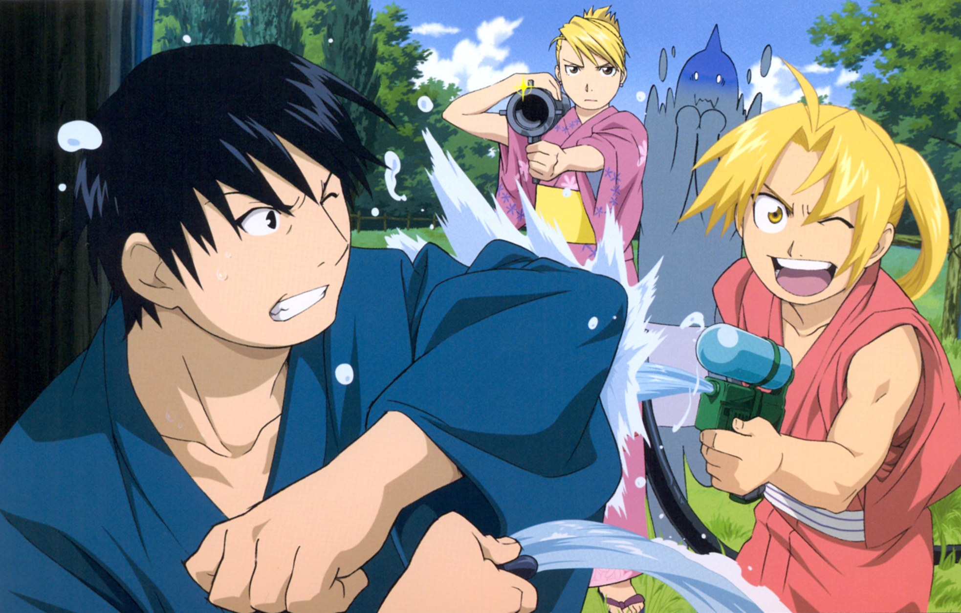 Fullmetal Alchemist promo art. Ed is laughing as he squirts Roy with a water gun. Roy looks annoyed and is trying to fend off the attack. In the background, Riza has a water-gun-bazooka on one shoulder and looks intense. Behind her, Al looks freaked out. They are all wearing yukata.