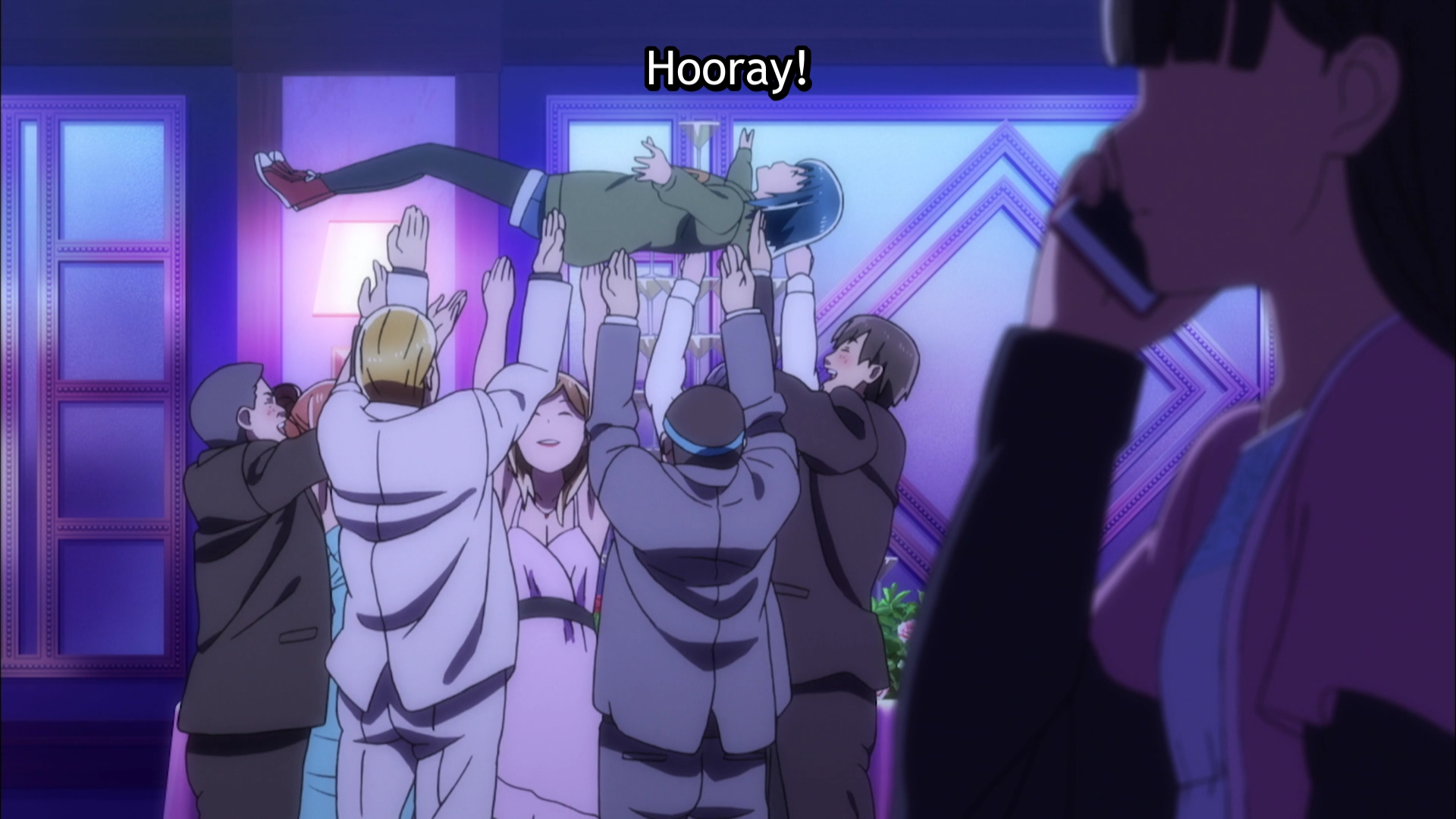 "A group of adults in business suits and evening dresses happily tosses a girl up in the air, shouting ""hooray!"""