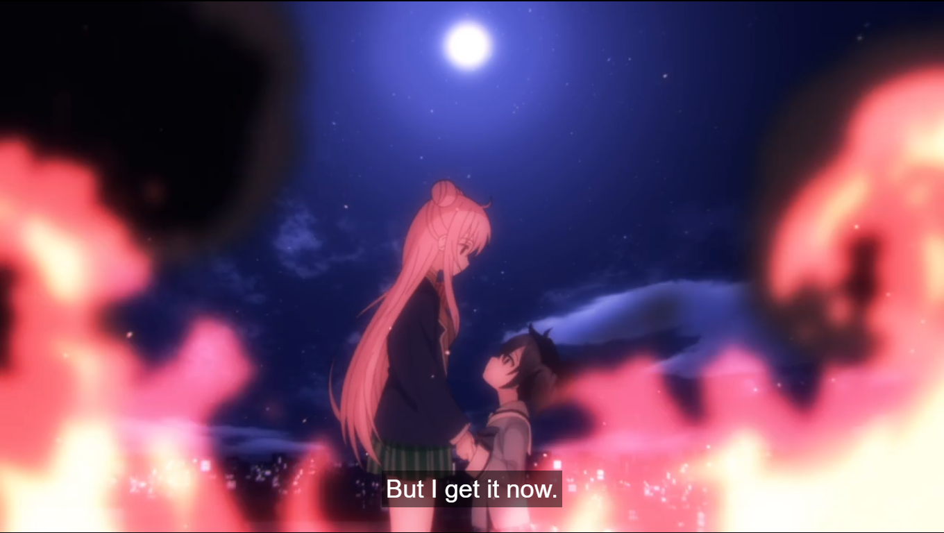 Satou and Shio holding hands in the midst of flames. caption: But I get it now