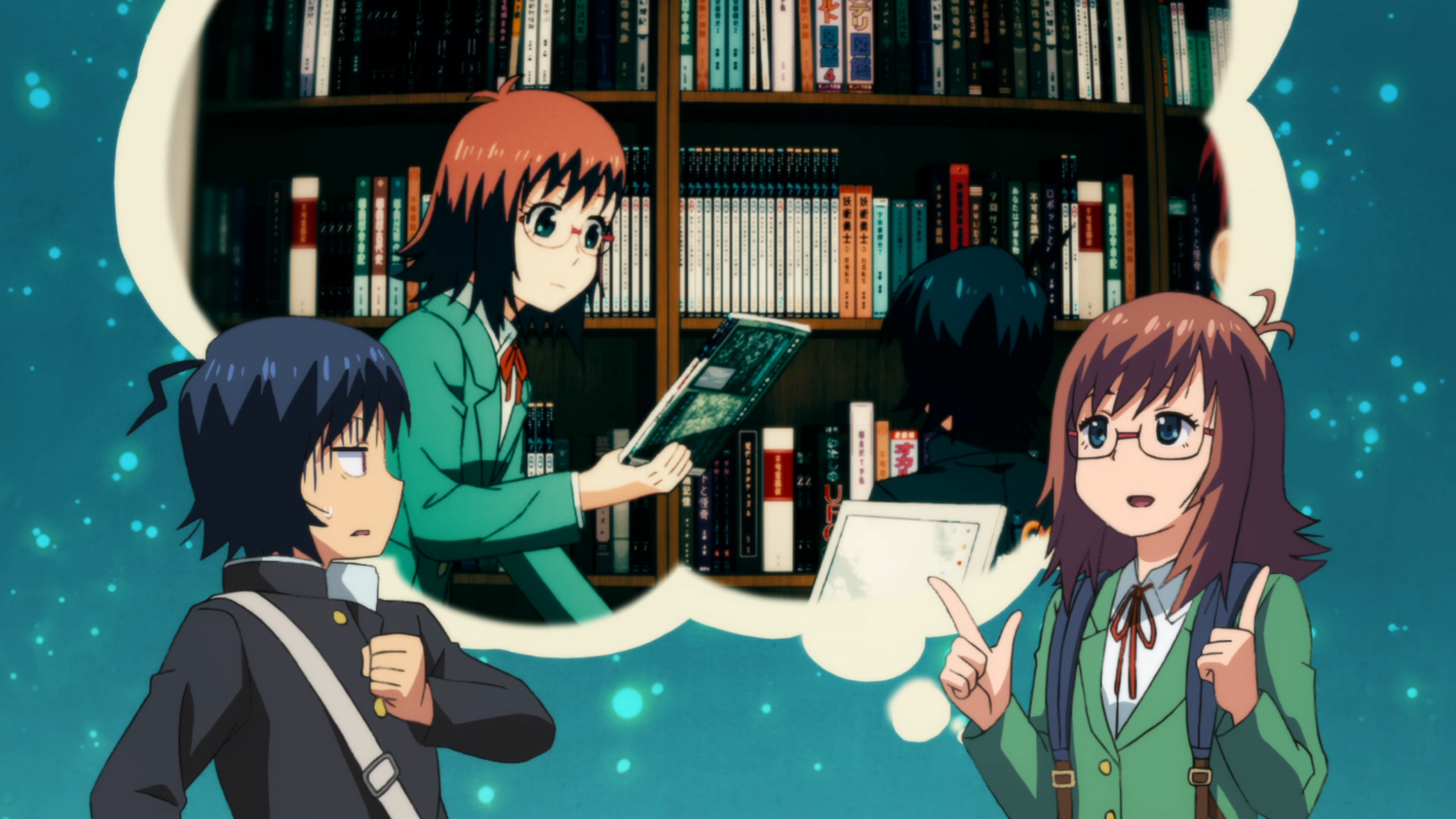 A screenshot from the anime Planet With. A teen girl in glasses faces a teen boy, who looks concerned. Above them is a thought bubble of the two of them looking at a bookshelf.