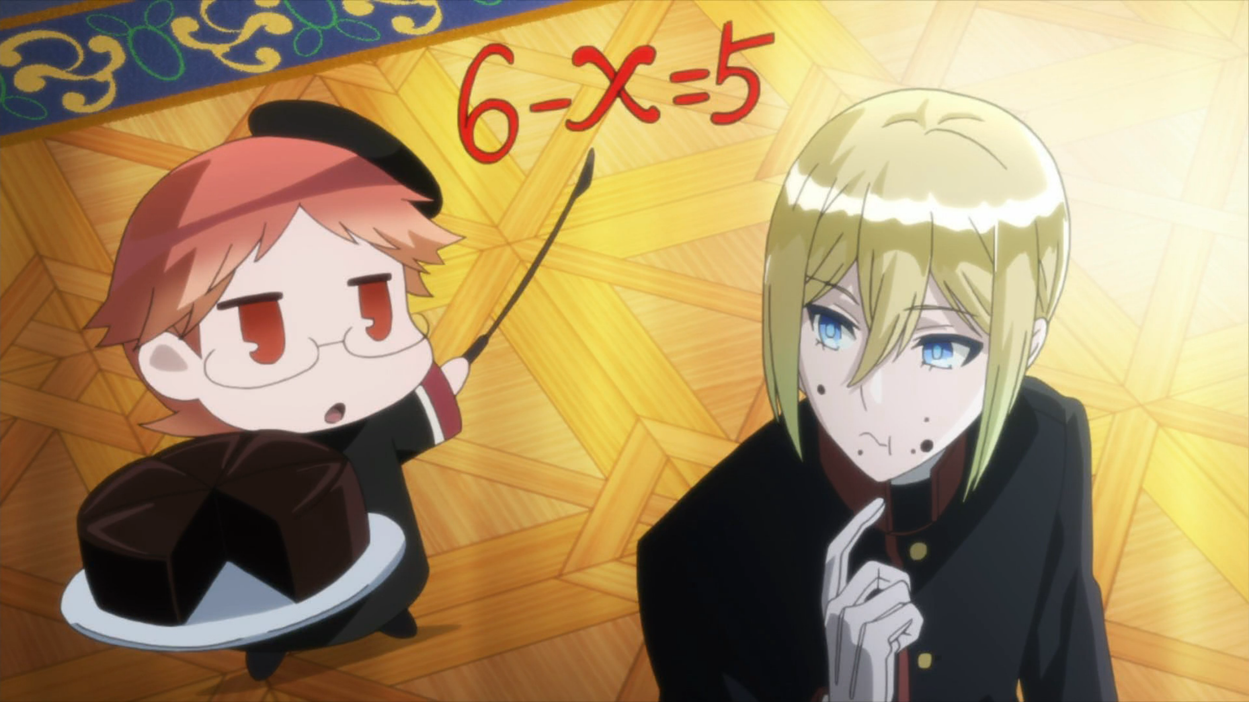 A screenshot from the Royal Tutor. Heine holds a chocolate torte and points to an algebra problem written in the air beside him. Licht looks at him uncertainly.