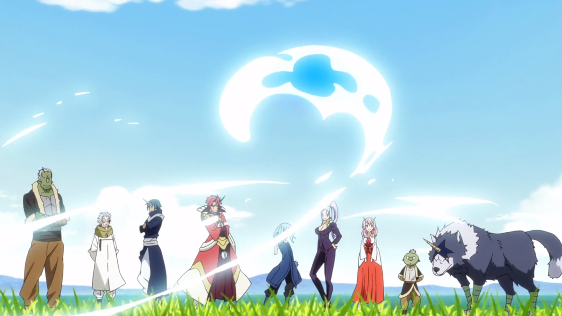 A group of people in fantasy clothing stand on a grassy field. In front of them is a glowing blue form shaped somewhat like a question mark.