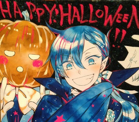 """A sketch of a grinning man dressed as a vampire with another person wearing a pumpkin on their head behind him. Text at the top reads """"Happy! Halloween!!"""""""