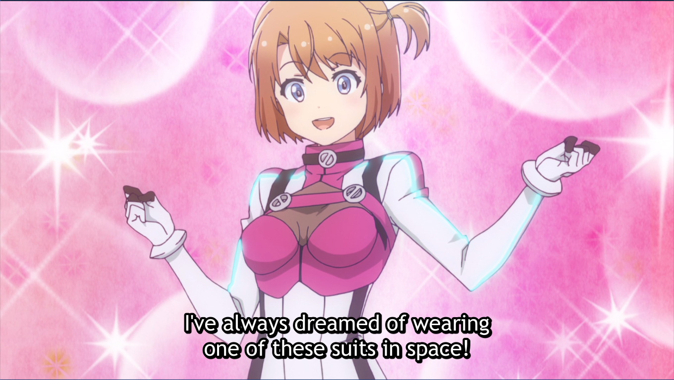 Haru in her space suit. subtitle: I've always dreamed of wearing one of these suits in space!