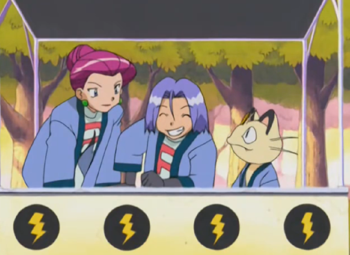 Team Rocket stands behind a booth wearing their shopkeeper's robes. James leans against the counter, grinning, while Jessie and Meowth stand to either side, looking at him and smiling.