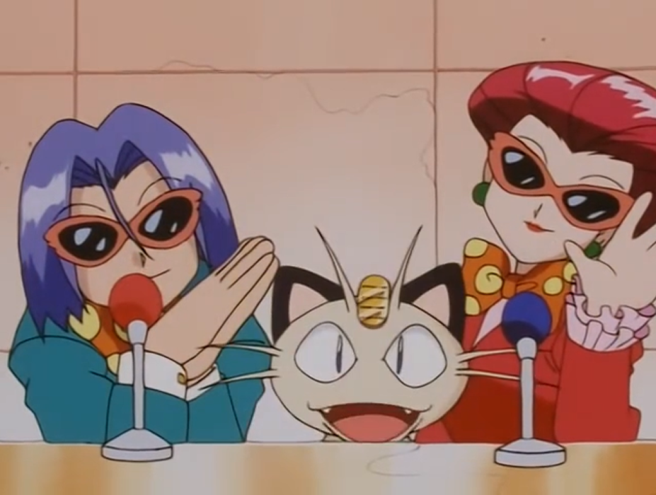 Team Rocket wearing sunglasses and bowties, smiling in front of microphones