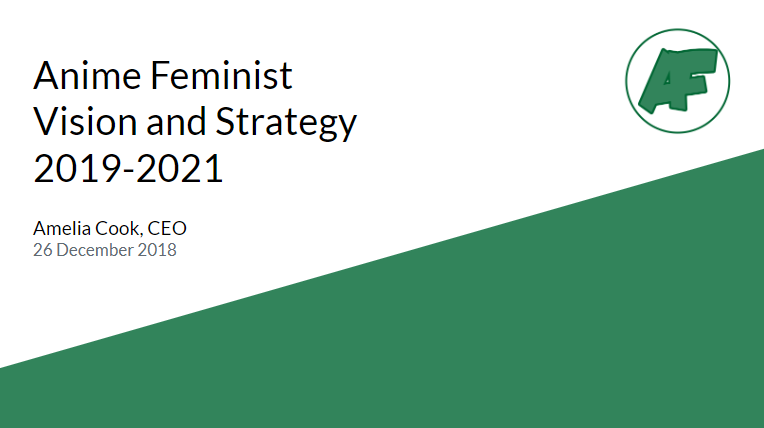 "Presentation slide with the AniFem logo and reading ""Anime Feminist Vision and Strategy 2019-2021, Amelia Cook, CEO, 26 December 2018"""