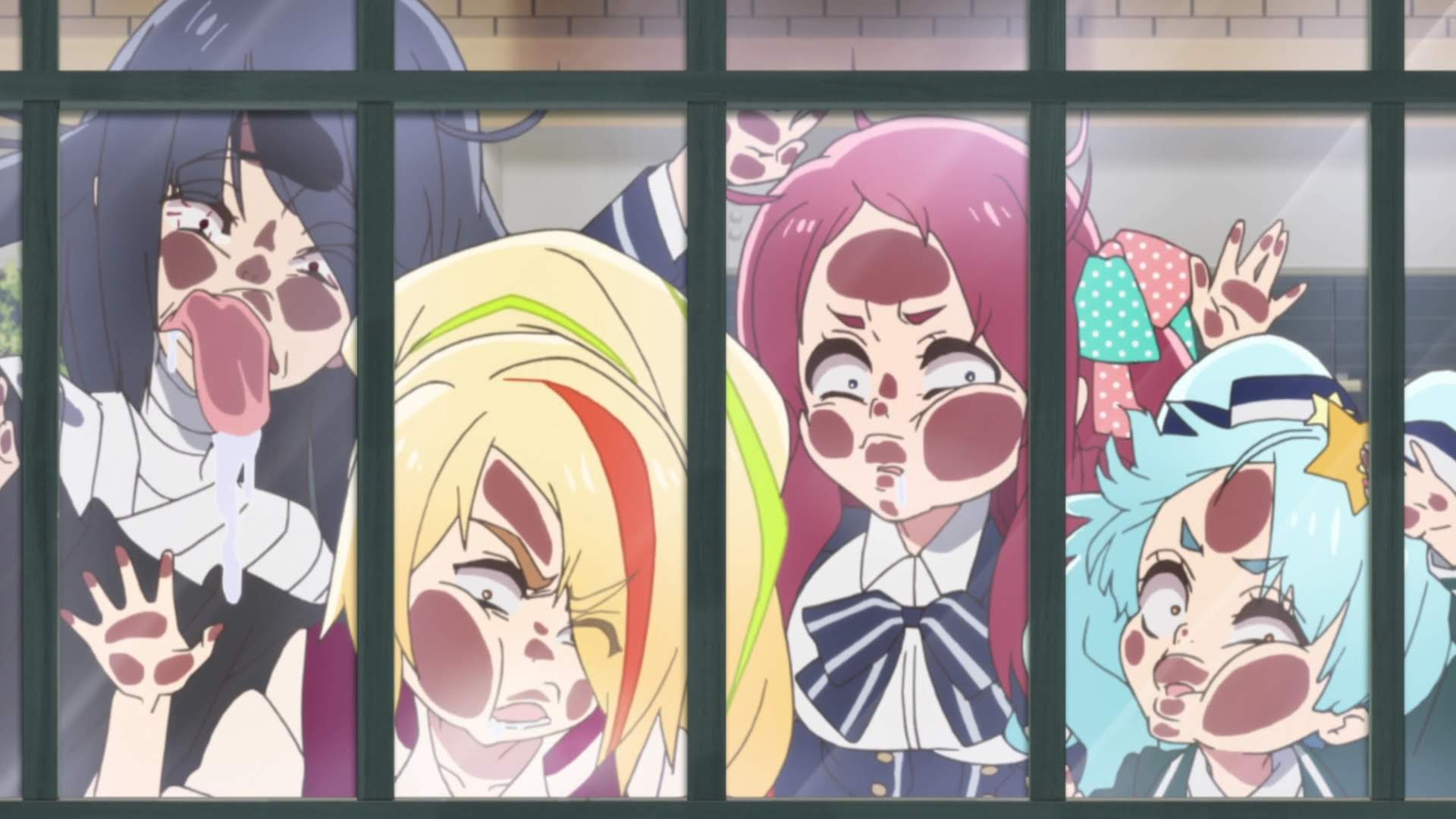 Four of the girls from Zombie Land Saga smashing their faces up against a glass window, peering in at something
