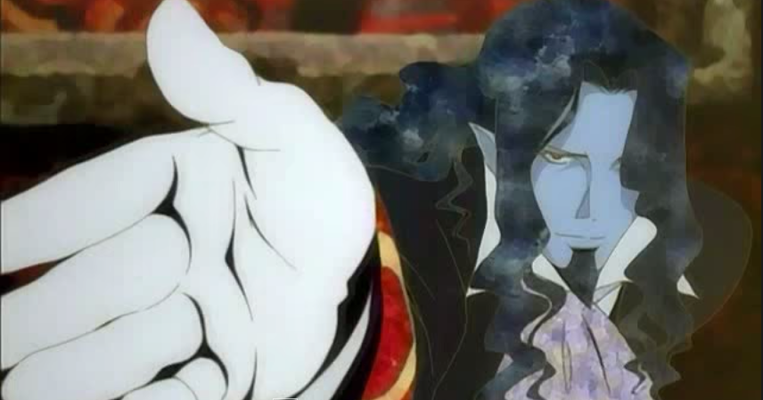 a blue-skinned aristocrat reaching his gloved hand toward the camera to shake