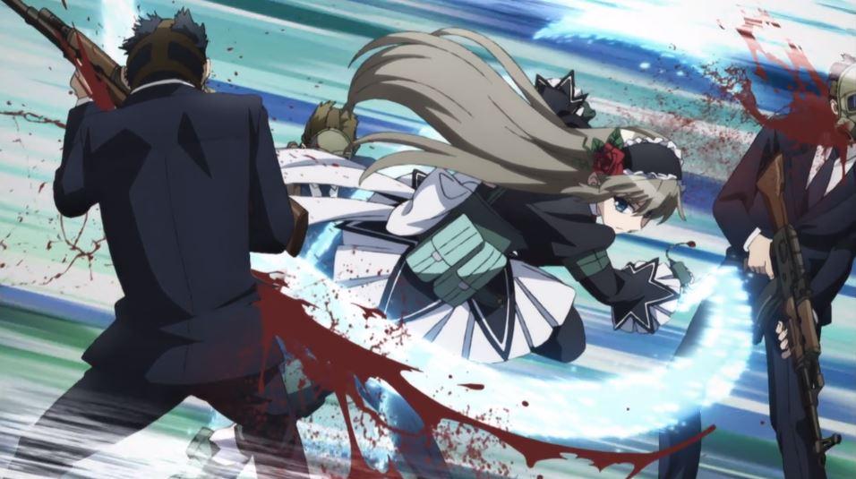 A girl in an elaborate dress cutting a bloody swath through a pair of men with guns