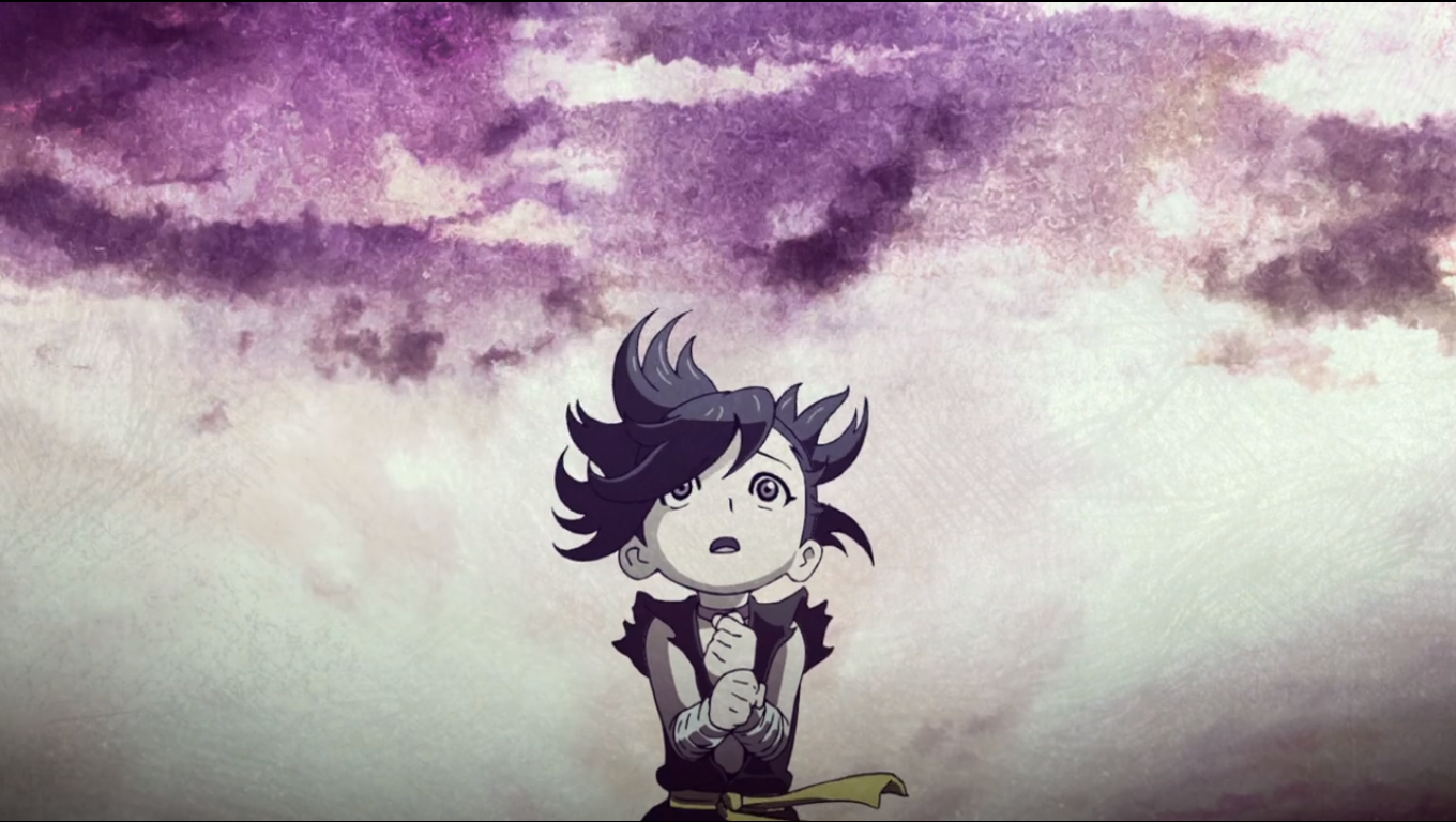 A small child looking up to the sky, the image washed out in purple and white