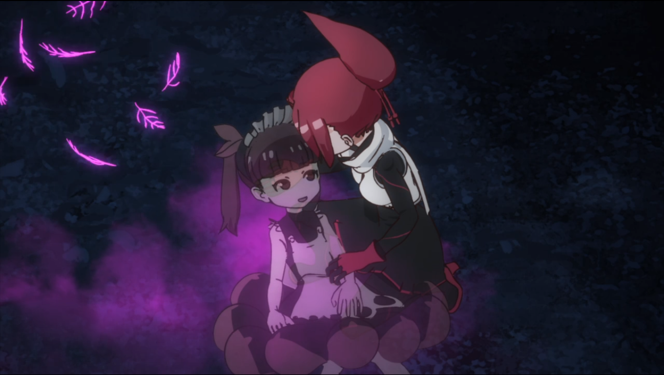 A redheaded young woman holding a little girl who's fading away into purple fragments