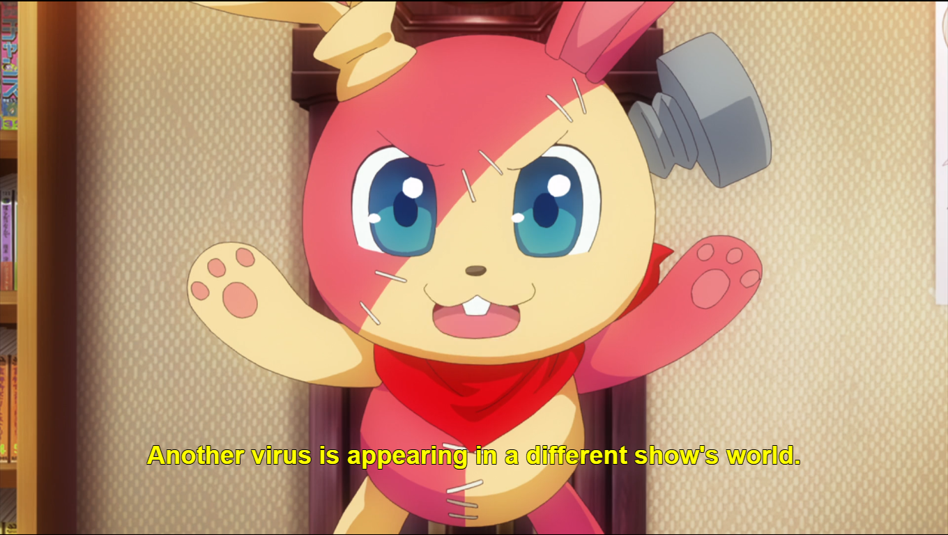 A frankenstein-stitched rabbit mascot extending its arms. subtitle: Another virus is appearing in a different show's world!