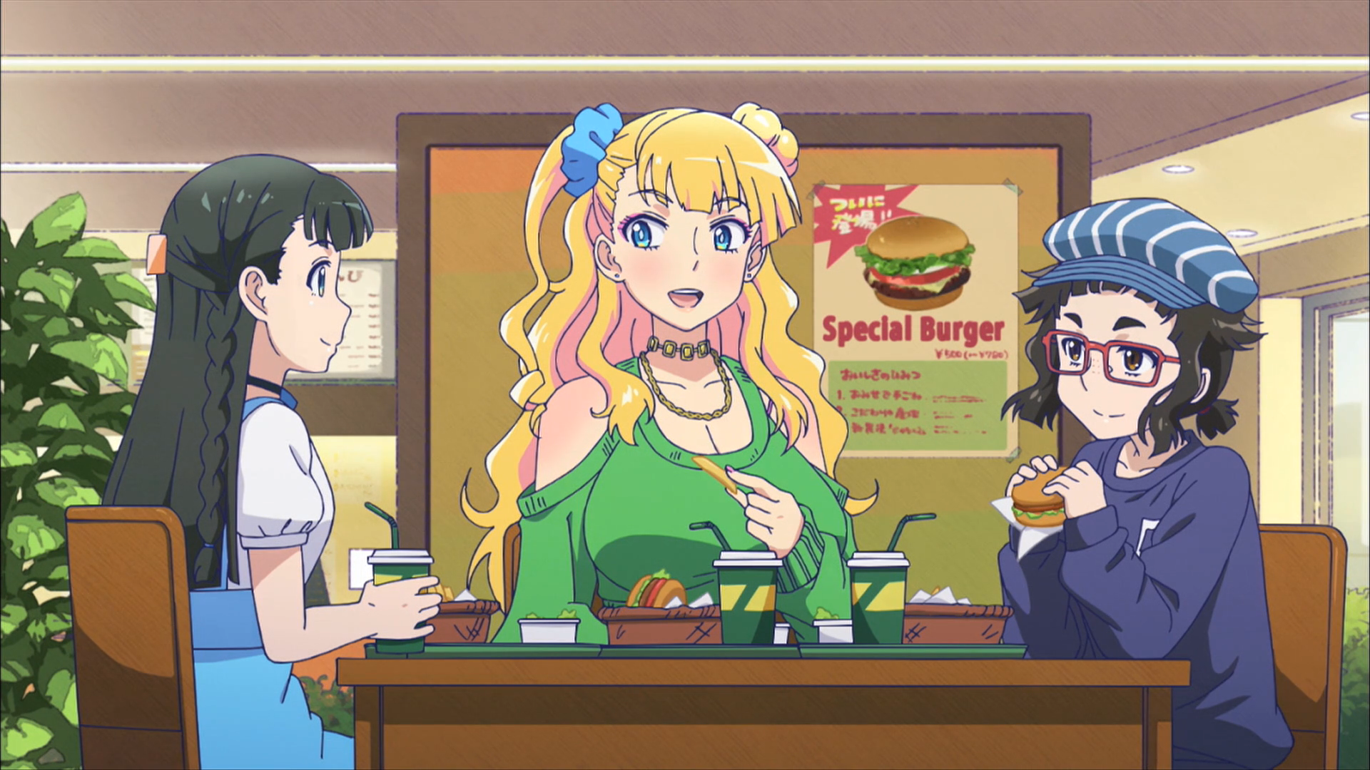 The three leads from Please Tell Me Galko-chan eating lunch together at a burger restaurant
