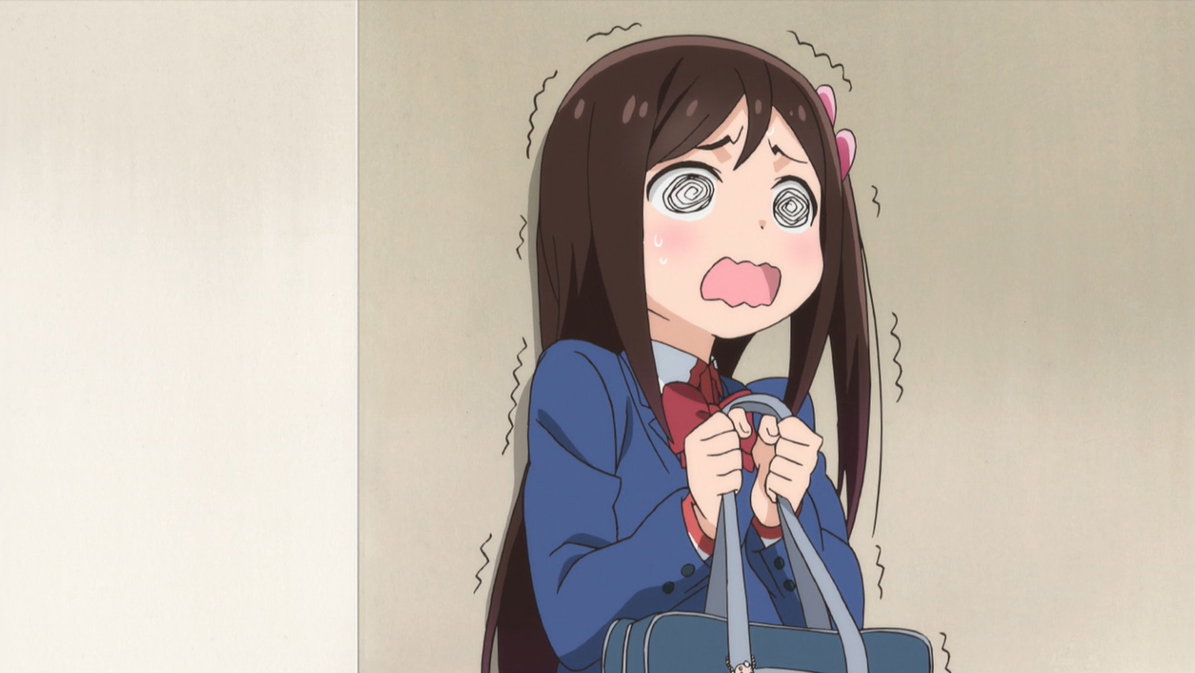 a long-haired girl clutching her bag, trembling and swirly-eyed with anxiety