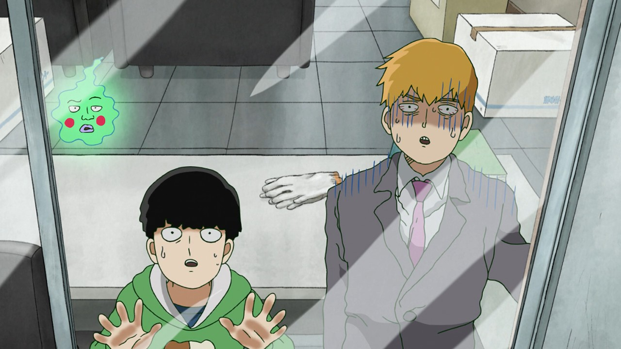 Mob, Reigen, and Dimple look out the window of an empty office. All three seem perturbed.