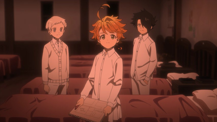 Promised Neverland image. Emma, Ray, and Norman stand in a room full of beds lined in a row. Emma holds a notebook. The three are looking at the camera.