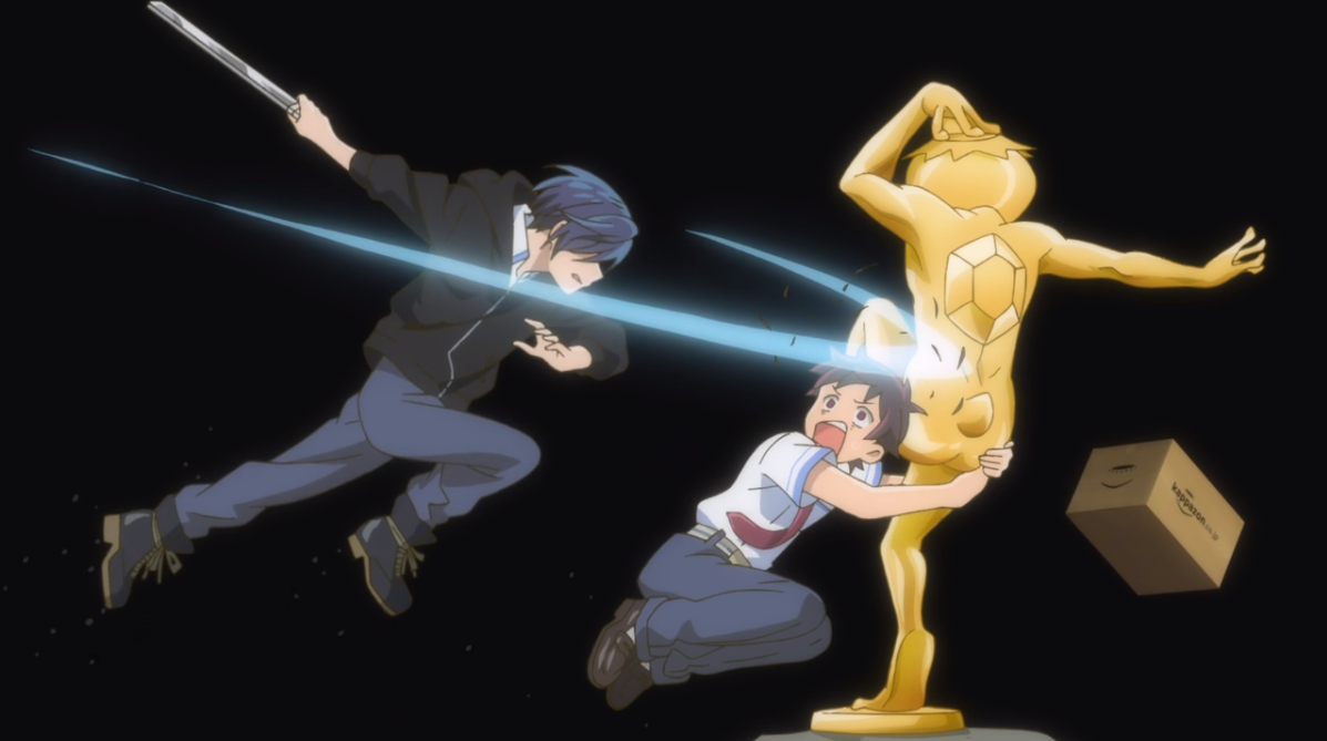 Kazuki from SARAZANMAI ducking and clinging on to a Kappa statue to avoid Toi swinging at him with a blade