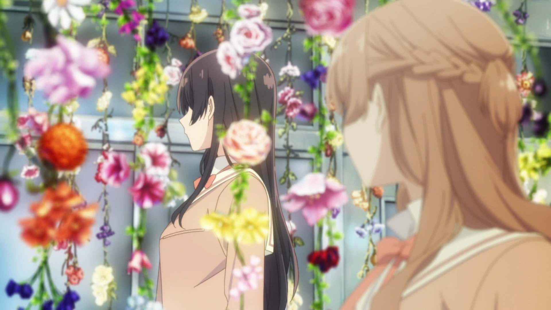 Sayaka staring at Touko's back through a curtain of hanging flowers