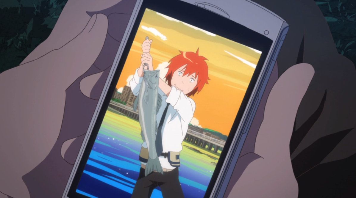a phone photo of Yuki from tsuritama nervously but happily holding up the fish he caught