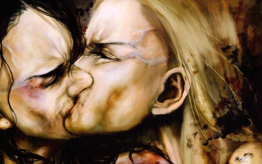 A painting of two women kissing hard