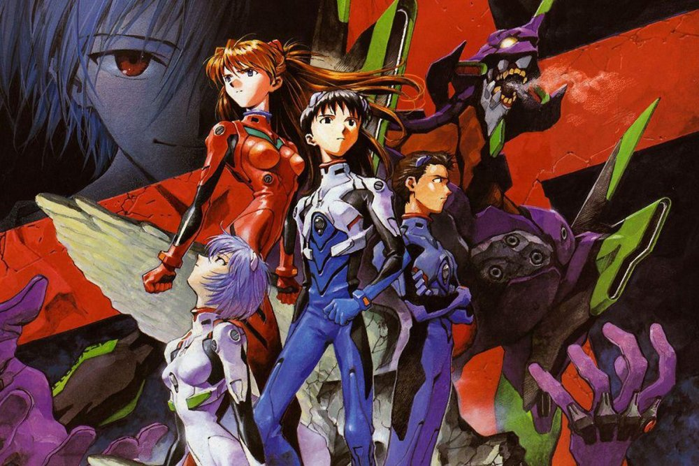 A composed group shot of the first four EVA pilots, Eva unit 01, and Kaworu's face in the background