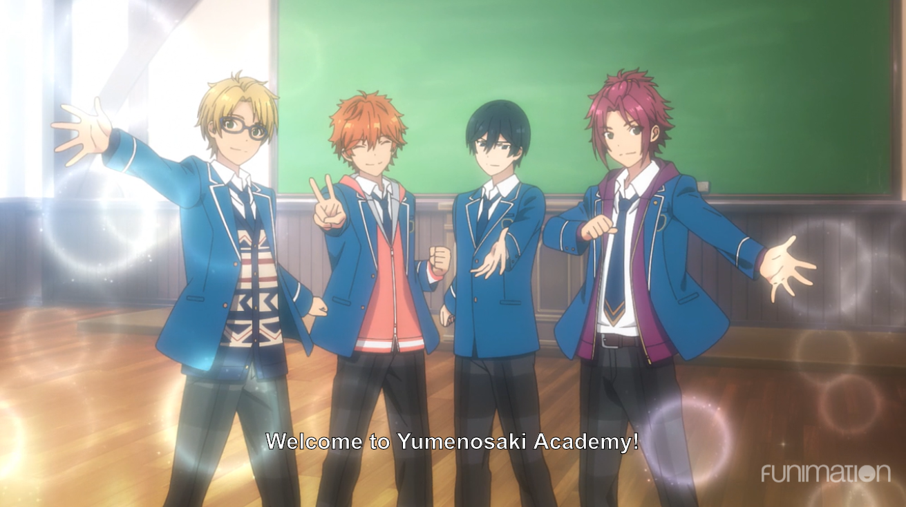 The four main characters holding their hands out to the camera, surrounded by bubbles. subtitle: welcome to Yumenosaki Academy!