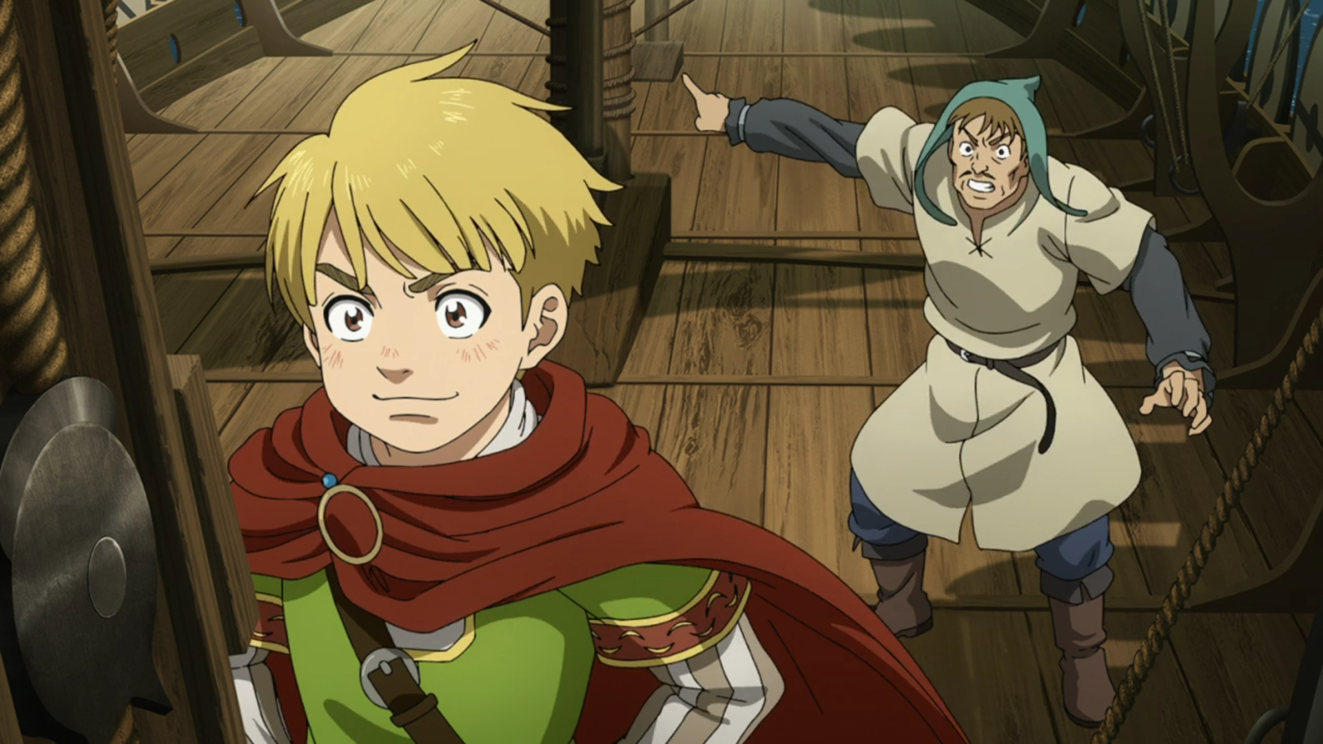 Thorfinn posing heroically on a boat while an adult man gestures frantically behind him