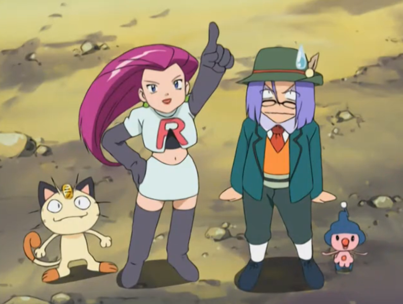 Image of Team Rocket. Jessie in her uniform confidently points upward. Meowth stands confidently to her left. James is wearing a traditional German outfit to her right. He is sweat-dropping and looking perturbed. Mime Junior chills next to him.