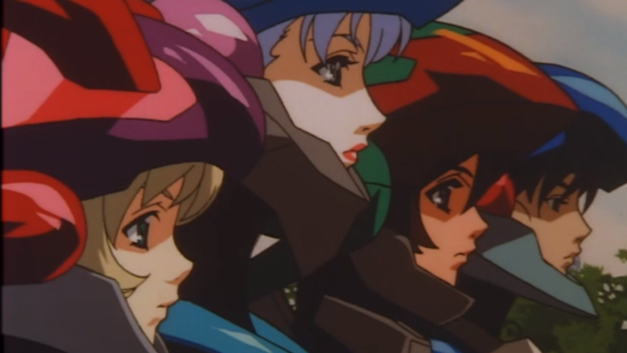 Close-up of the four Bubblegum Crisis female leads in profile, wearing their mecha-suit helmets and looking serious