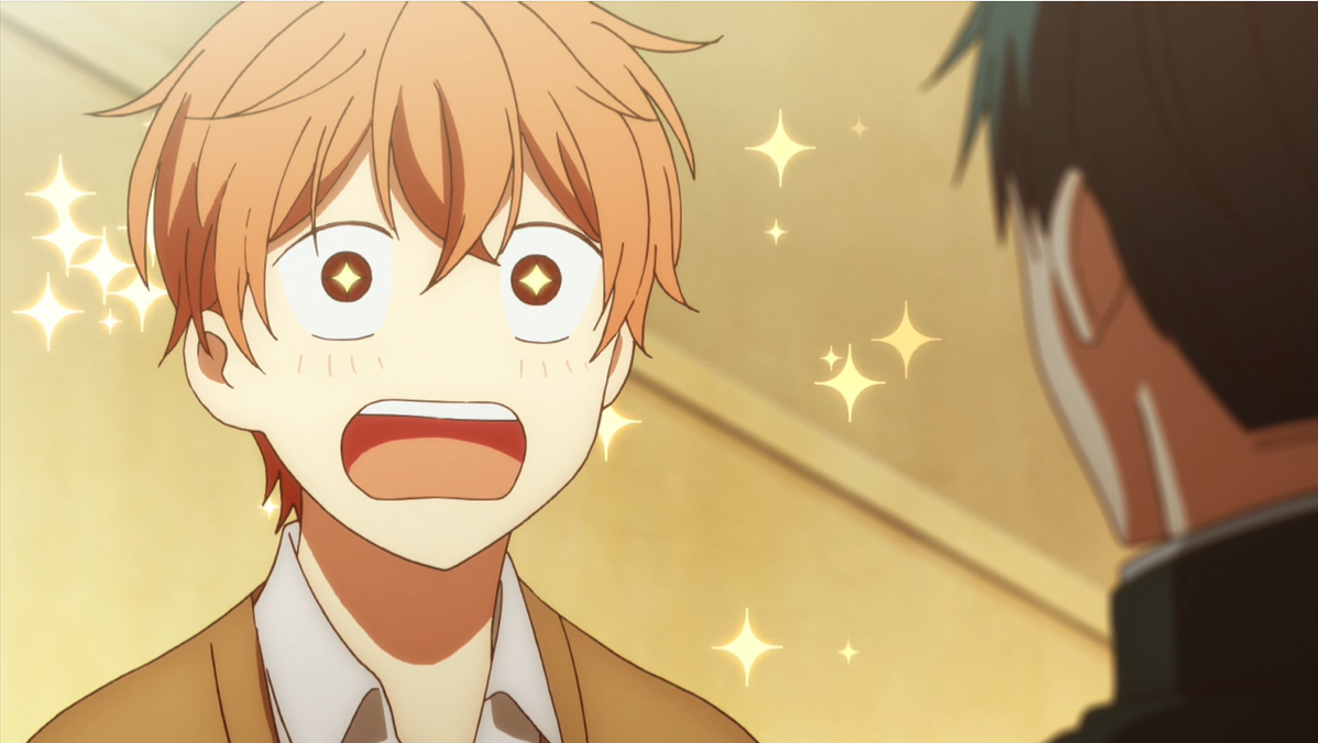Mafuyu from given with wide eyes and sparkles around his head