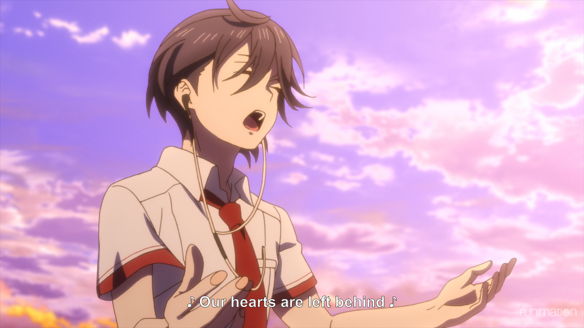 Saku singing against the sunset. subtitle: Our hearts are left behind